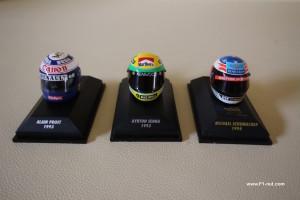 Prost Senna Schumacher 1:8 F1 helmets